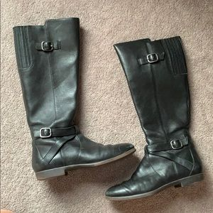 UGG black leather riding boots